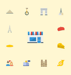 Flat icons cheddar trombone aroma and other vector