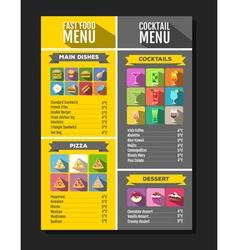 Flat style of fast food menu design vector