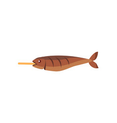 Fried fish on stick isolated vector