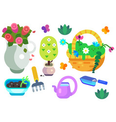 garden equipment icon set vector image