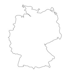 germany - solid black outline border map of vector image