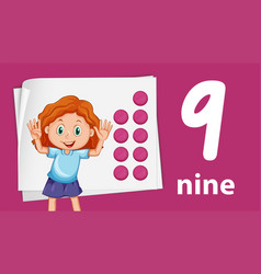 Girl on number night template vector
