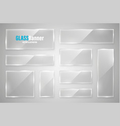 glass frame realistic glossy transparent glass vector image