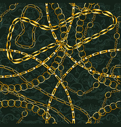 golden chains vintage jewelry seamless vector image