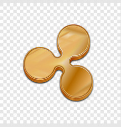 Golden ripple coin trendy 3d style icon vector