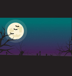 halloween background with bats zombies and full vector image