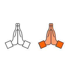 Hand with pray icon namaste emoji for thank vector