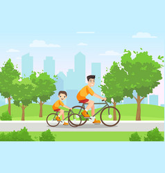 happy family people ride bicycles sport vector image
