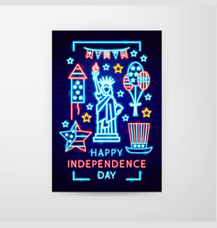 happy independence day neon flyer vector image