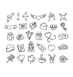 happy valentines day doodle style elements vector image