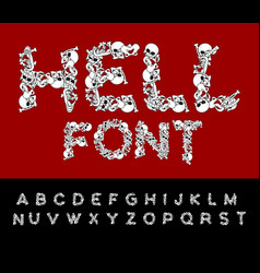 hell font bones abc skeleton letters skull and vector image