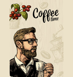 Hipster barista holding cup coffee and branch with vector