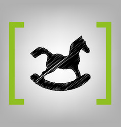 horse toy sign black scribble icon in vector image