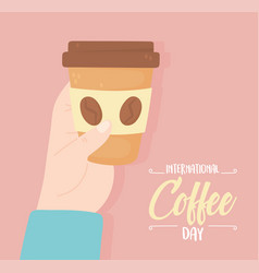 International day coffee hand with paper vector