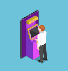 isometric businessman using an atm machine vector image