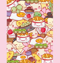 japanese gastronomy background kawaii cartoons vector image