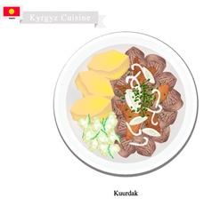 Kuurdak or Kyrgyz Stewed Brown Meat with Onion vector