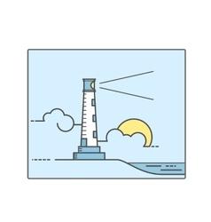 Lighthouse line art style vector