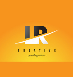 Lr l r letter modern logo design with yellow vector