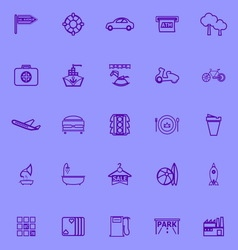 Map place purple line icons vector