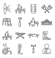 Medical chiropractor icons set outline style vector