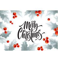 Merry christmas hand drawn lettering in silver vector