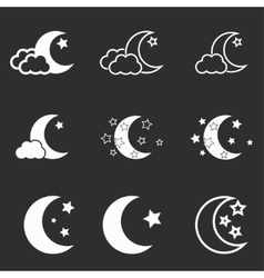 Moon star icon set vector image