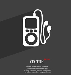 MP3 player headphones music icon symbol Flat vector image