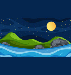 Nature scene with river and fullmoon vector