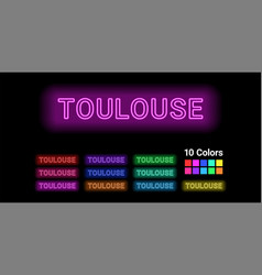 Neon name of toulouse city vector