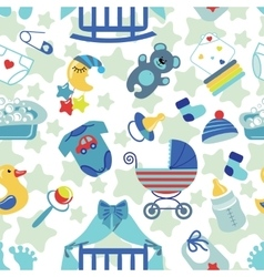 Newborn Baby boy seamless pattern vector image