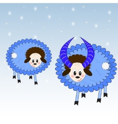 Nice sheep on the winter background vector image
