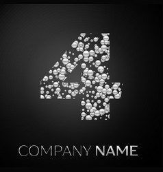 number four logo silver dots alphabet logotype vector image