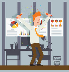 office employee celebrating vector image