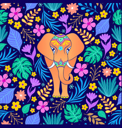 orange elephant and tropical flowers vector image