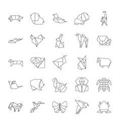 Origami signs black thin line icon set vector