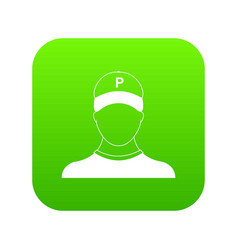 Parking attendant icon digital green vector