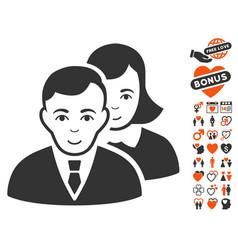 People icon with love bonus vector