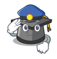 Police graduation hat character cartoon vector
