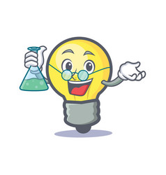 Professor light bulb character cartoon vector
