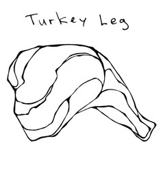 Raw turkey leg realistic vector