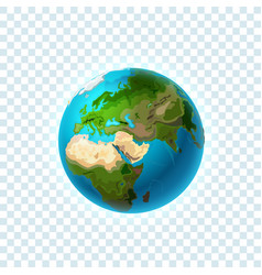 realistic earth isolated on transparent background vector image
