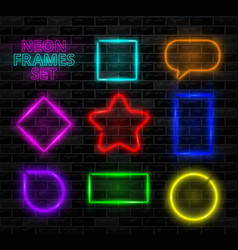 Realistic neon frame set different shapes vector