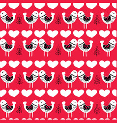 red scandinavian love birds pattern design vector image