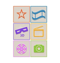 Retro paper cinema icons vector image vector image