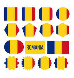 romania flag collection figure icons set vector image