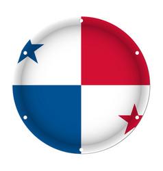 Round metallic flag of panama with screw holes vector