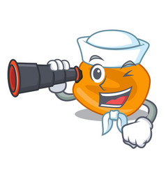 Sailor with binocular eat corn nuts in cartoon vector