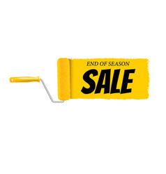 sale banner yellow paint roller and paint stroke vector image