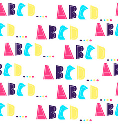 seamless pattern with letters of alphabet abcd vector image